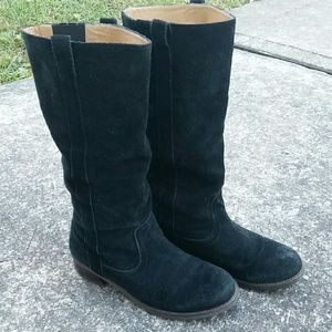 Zodiac Black Suede Pull On Campy Boots